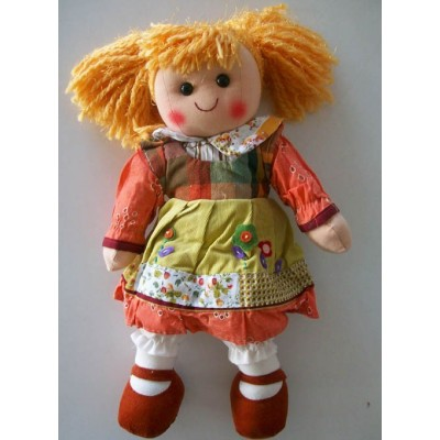 Textile Rag Doll handmade with laces and ribbons width cm.35 Le tate piccola marroncina
