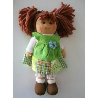 Bambola di pezza con stoffa pizzi e nastri altezza cm.25 Le tate piccola verderella