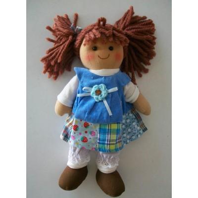 Bambola di pezza con stoffa pizzi e nastri altezza cm.25 Le tate piccola celestina