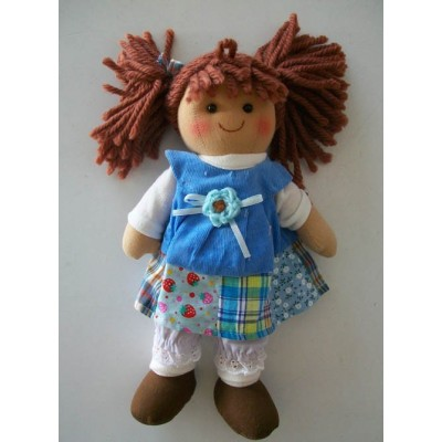 Textile Rag Doll handmade with laces and ribbons width cm.25 Le tate piccola celestina