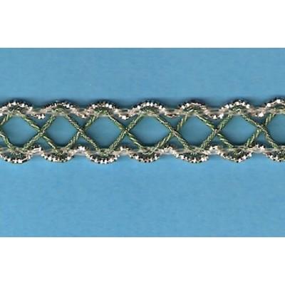 Passamaneria verde e argento con filo metallico altezza cm.1,3 confezione mt.25 H110