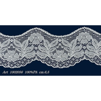 Raschel white lace scalloped ribbon width cm.6.5 pack mt.20 art.1002056