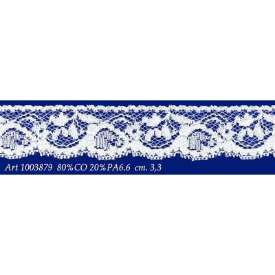 Pizzo valencienne bianco rigido altezza cm.3.3 confezione mt.20 art.1003879