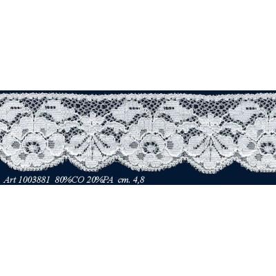 Pizzo valencienne bianco rigido altezza cm.4.8 confezione mt.20 art.1003881