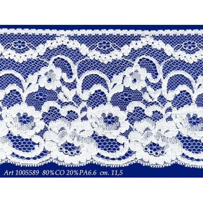 Encaje de algodon y nylon rigido blanco con flores altura cm.11.5 paquete mt.20 art.1005589