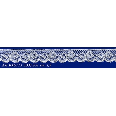Encaje de nylon rigido blanco con flores altura cm.1.8 paquete mt.20 art.1005773