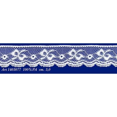 Pizzo valencienne bianco rigido con farfalla altezza cm.3 confezione mt.20 art.1403077