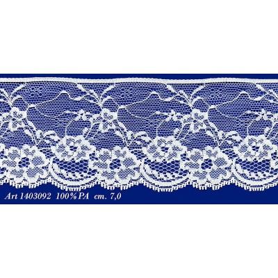 Pizzo valencienne bianco rigido altezza cm.7 confezione mt.20 art.1403092