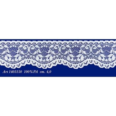Pizzo valencienne bianco rigido con fiori altezza cm.4 confezione mt.20 art.1403150