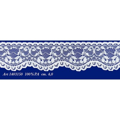 Raschel white lace trim rigid with flowers width cm.4 pack mt.20 art.1403150