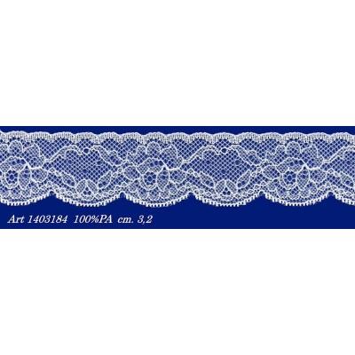 Pizzo valencienne bianco rigido con fiori altezza cm.3.2 confezione mt.20 art.1403184