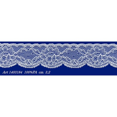 Raschel white lace trim rigid with flowers width cm.3.2 pack mt.20 art.1403184