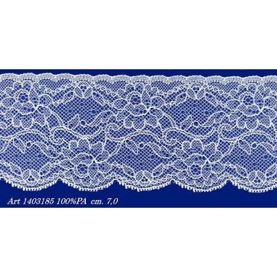 Encaje de nylon rigido blanco con flores altura cm.7 paquete mt.20 art.1403185