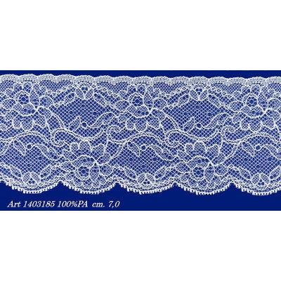 Raschel white lace trim rigid with flowers width cm.7 pack mt.20 art.1403185
