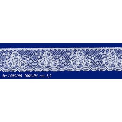 Encaje de nylon rigido blanco con flores altura cm.3.2 paquete mt.20 art.1403196