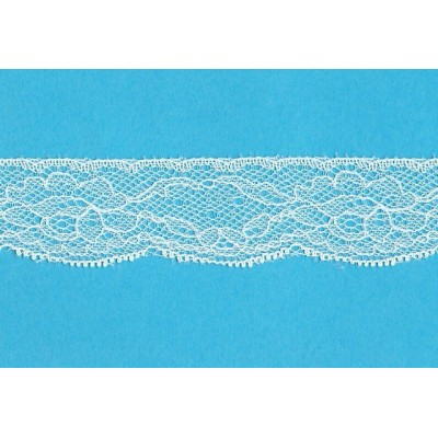 Raschel ivory lace trim rigid with flowers width cm.3.2 pack mt.20 art.1403184