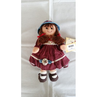 Textile Rag Doll fabric handmade with laces width cm.27 Mydoll cs005 mini bordeaux
