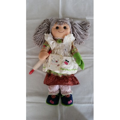 Rag doll Grandmum with fabric lace and ribbons wide 42 cm MYDOLL BL015