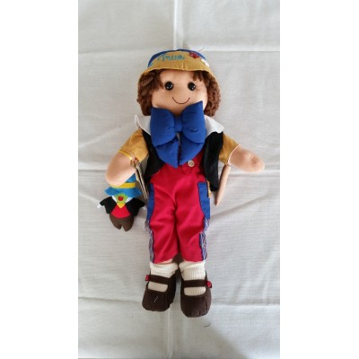 Rag doll Pinocchio with fabric lace and ribbons wide 42 cm MYDOLL