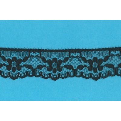Pizzo valencienne nero rigido altezza cm.3 confezione mt.20 art.1200165
