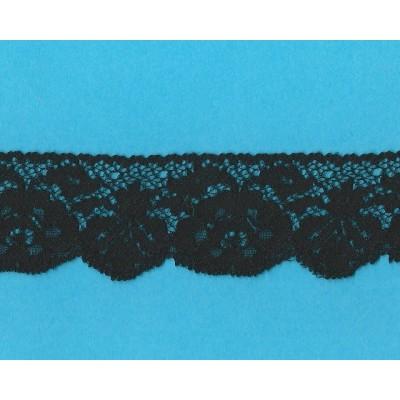 Encaje de nylon Valencienne Rigido Negro Altura cm.4.8 Paquete mt.20 Art.1003881