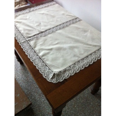 LACE TABLECLOTH MIXED LINEN 110X96 CM