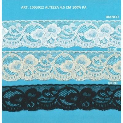 Dentelle raschel blanc rigid avec fleurs hauteur cm.4.5 paquet mt.20 art.1003022