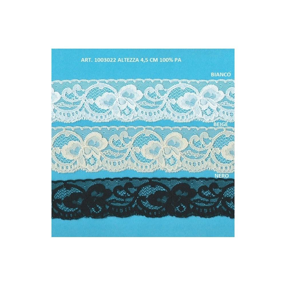 Encaje de Nylon Rigido con diseno floral Altura cm.4.5 Paquete mt.20 Art.1003022