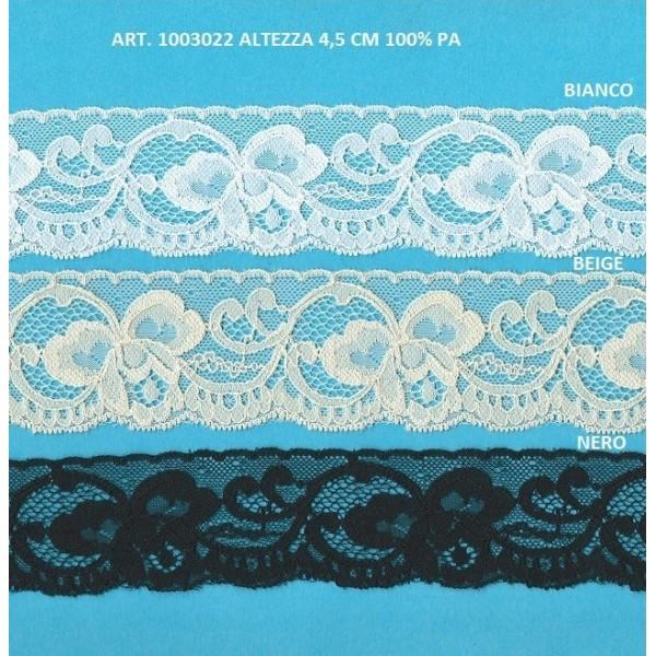 Dentelle Valenciennes Rigid avec motif Floral Hauteur cm.4.5 Paquet mt.20 Art.1003022