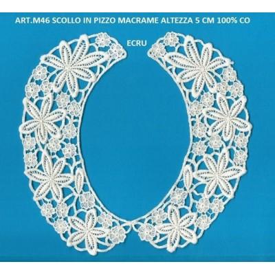 APPLICAZIONE MACRAME PIZZO ALTEZZA CM.5 PREZZO CADAUNO ART.M46