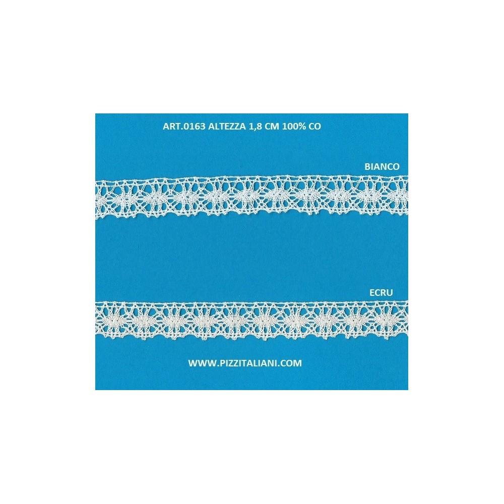 Encaje de bolillos festoneado de algodón ligero Altura cm.2 Paquete mt.10 Art.0163