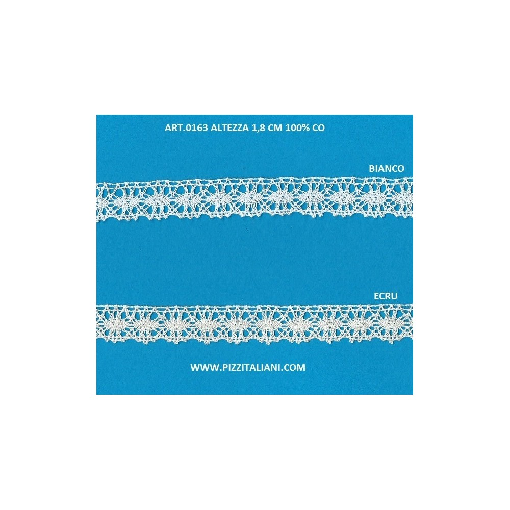 Scalloped Bobbin Lace in light cotton Height CM.2 Package mt.10 Art.0163