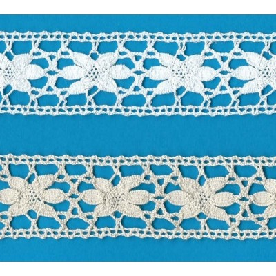 Bobbin Lace Cotton Edged Star Pattern Height cm.3,5 Piece mt.10 Art.1690