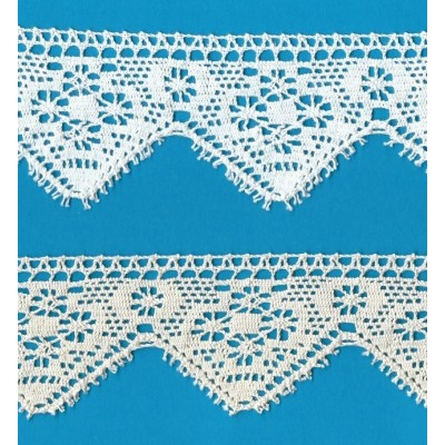 Hand-finished Scalloped Bobbin Lace Height cm.6 Package mt.10 Art.1856