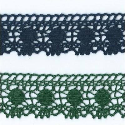 Dentelle aux Fuseaux vert et bleu Hauteur cm.4 Paquet mt.10 ART.1306