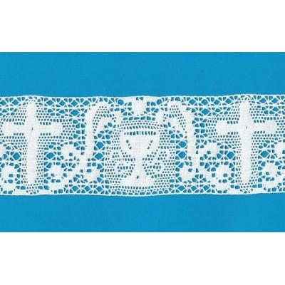 Encaje religioso eclesiástico Entredos de algodón blanco Altura cm.8 Paquete mt.10 Art.1695
