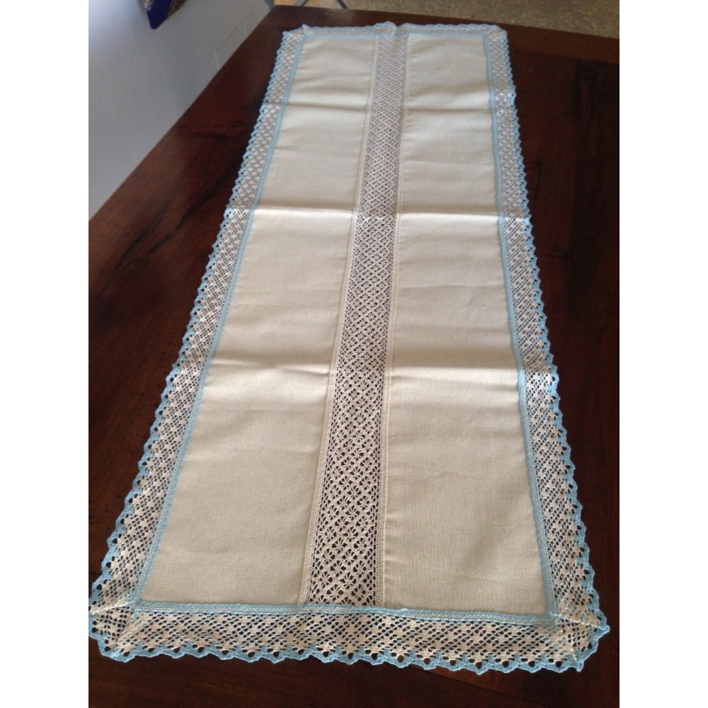 DOILY RUNNER MIXTED LINEN WITH LACE 107X40 CM