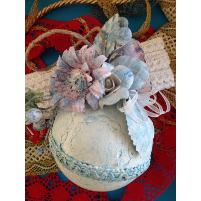 CHRISTMAS SHABBY BALL ECRU DIAME CM.12
