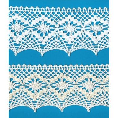 Dentelle aux fuseaux festonnée avec motif géométrique Hauteur cm.7,5 Paquet mt.10 Art.1845