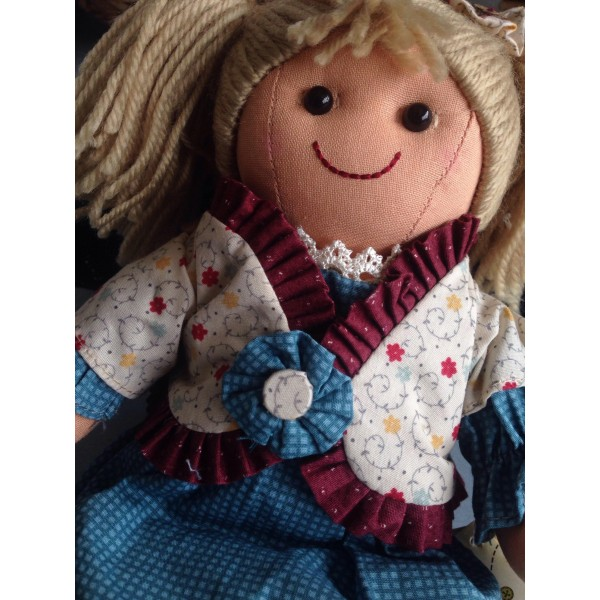 Textile Rag Doll fabric handmade with cotton laces width cm.27 Mydoll cs006