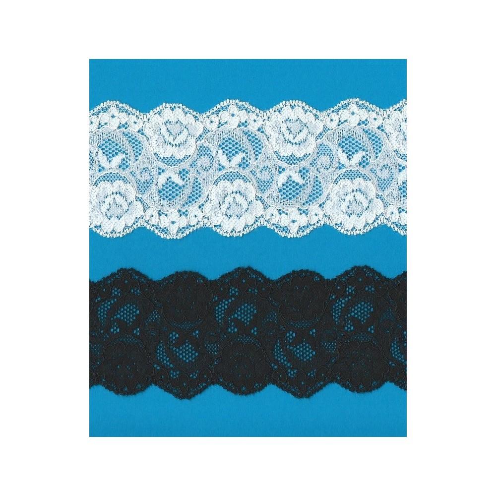 Encaje de nylon elastico altura cm.6.5 paquete mt.20 art.1001255