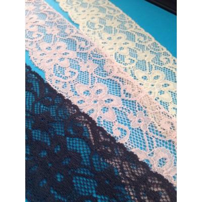 Pizzo valencienne elastico altezza cm 5.5 confezione mt.20 art.1018021