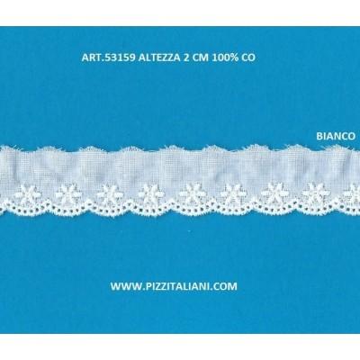 Pizzo Ricamo Sangallo altezza cm.2 confezione mt.13.80 Art.53159