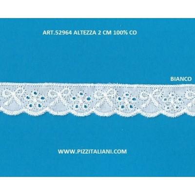 Pizzo Ricamo Sangallo altezza cm.2 confezione mt.13.80 Art.52964