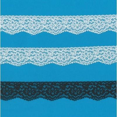 Encaje de nylon elastico altura cm.3 paquete mt.20 art.1202241