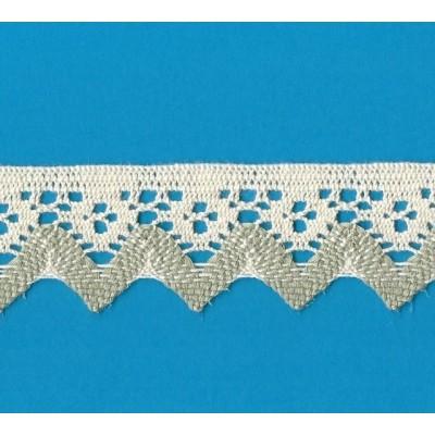 Pizzo tombolo smerlo merletto ricamo cotone altezza cm.4 pezza da mt.10 art.1316