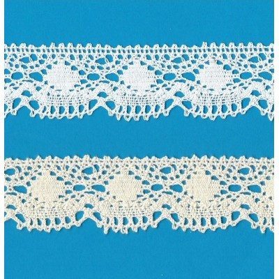 COTTON LACE RIBBON WIDE CM.3.5 PACK MT.10 ART.0405