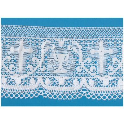 Pizzo merletto tombolo religioso altezza cm.14 confezione mt.10 art.1707