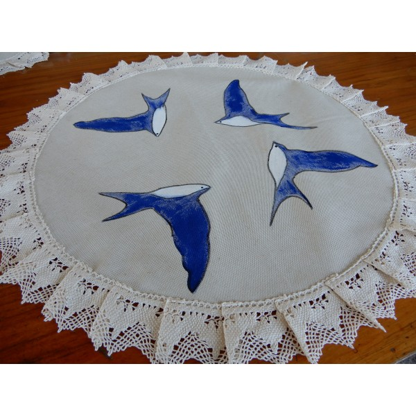 DOILY ROUND RUNNER MIXTED LINEN WITH LACE DIAMETER 57 CM
