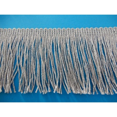 Silver fringe lurex trimmings trim width cm.7.5 pack mt.10